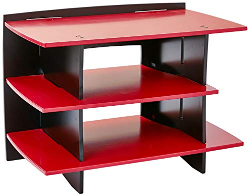 Legar Furniture Kids Gaming and TV Media Stand, Standard Storage Unit for Bedroom, Basement, and Playroom, Red and Black