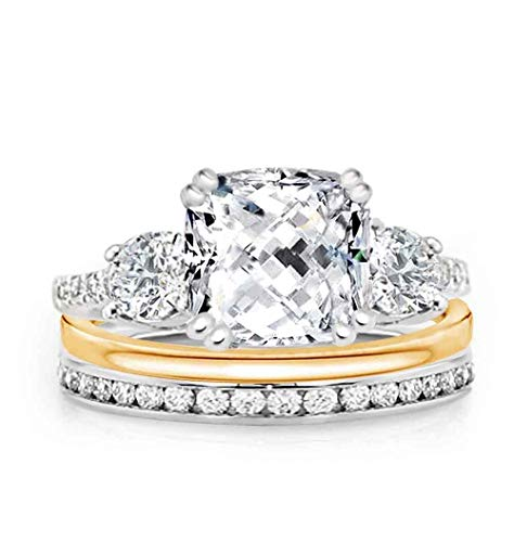 Samie Collection Royal Princess Meghan Markle Inspired 3 Stone CZ Engagement Ring Wedding Band & Eternity Ring Bridal Ring Set in Yellow Gold, Rose Gold, Rhodium Plating, Size 5-10