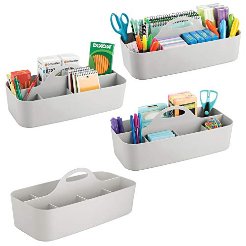 mDesign Large Office Storage Organizer Utility Tote Caddy Holder with Handle for Cabinets, Desks, Workspaces - Holds Desktop Office Supplies, Gel Pens, Pencils, Markers, Staplers, 4 Pack - Light Gray by mDesign (Image #8)