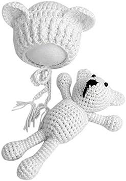 Sombrero de gorros de ganchillo para bebés bebés con mu?eco de peluche Conjunto de juguetes para bebés recién nacidos Fotografía de ni?a Traje de apoyo Traje - Blanco