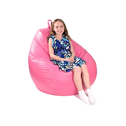 Gold Medal Bean Bags 30011246822TD Large Leather Look Tear Drop Bean Bag, Hot Pink (Bag Bean Brown Leather)