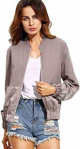 a4c68b6f82 SheIn Women's Casual Plain Zip up Pocket Outwear Long Sleeve Short Bomber  Jacket