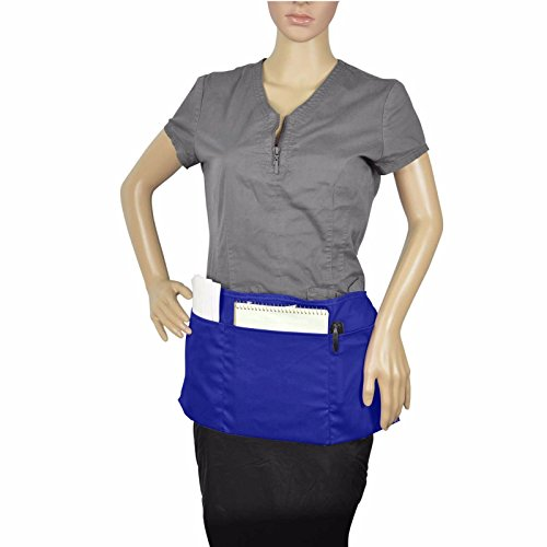ProEquip Waist Apron with 3 Pockets Poly Cotton Commercial Restaurant Home Bib Spun, Black, Green, Navy, White, Royal, Red (1, Royal) ()