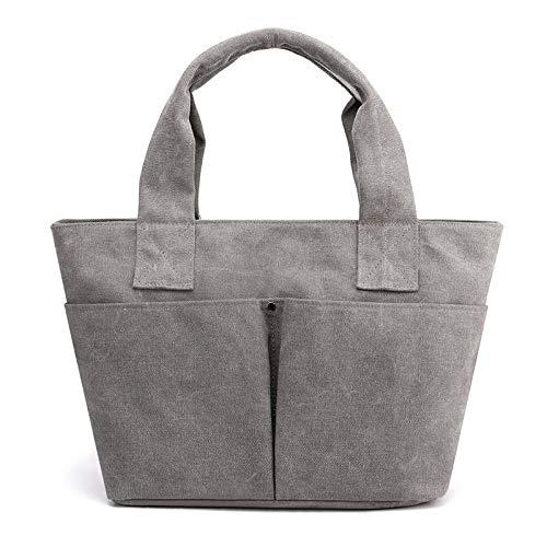 HVTKL Ms. Axelportabel mode enkel stor väska stor väska 2020 ny kvinna hög kapacitet enfärgad kanvas väska handväskor HVTKL Grå