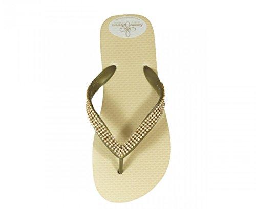 Exclusivas Simone sand Beige Sandalias Luxury Footwear Chanclas Mujer Herrera Dorado Para EOTqvwrREx