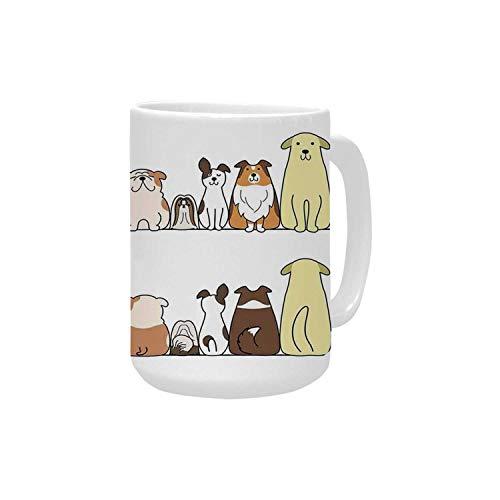 Kids Ceramic Mug,Cats and Dogs Collie Calico Labrador Scottish Shorthair Tabby Shih Tzu Pet Lovers Art Print Decorative for Home,15OZ