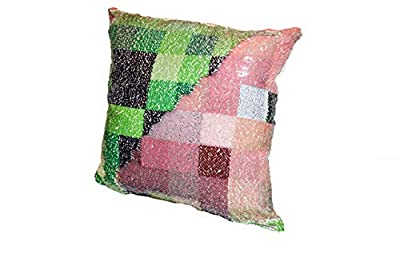 "Sequin Pillow Minecraft Inspired Case Toy Changes Color - Holographic Pig Creeper Videogame Toy, Plush Sequin Pillow Cover Kids All Ages 16"" x 16"""