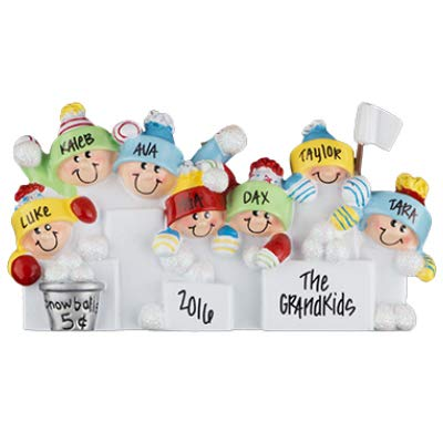 Snowball Fight Family of 7 Personalized Ornament - (Unique Christmas Tree Ornament - Classic Decor for A Holiday Party - Custom Decorations for Family Kids Baby Military Sports Or - Ornament Snowball