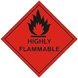 Panneau de dangerSticker signe inflammable en forme de losange avec inscription Highly Flammable 100x100mm