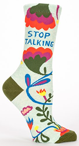 blue-q-womens-novelty-crew-socks-stop-talking-womens-size-5-10-with-sock-ring