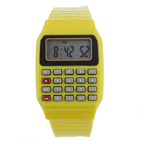 Price comparison product image Unsex Silicone Multi-Purpose Date Time Electronic Wrist Calculator Watches by Rakkiss (Yellow)