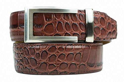 Alligator Coffee Premium Reptile Leather Belt with Automatic Buckle - Nexbelt Ratchet System Technology (Reptile Buckle Belt)