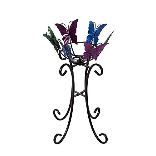 Evergreen Garden Multicolor Butterflies Metal Gazing Ball Stand (Ball Metal Stands Gazing)