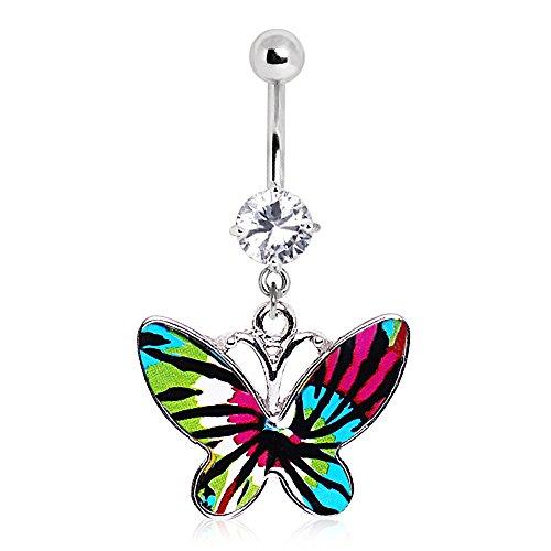 - WildKlass Jewelry Blue Tie-Dye Butterfly Navel Ring 316L Surgical Steel