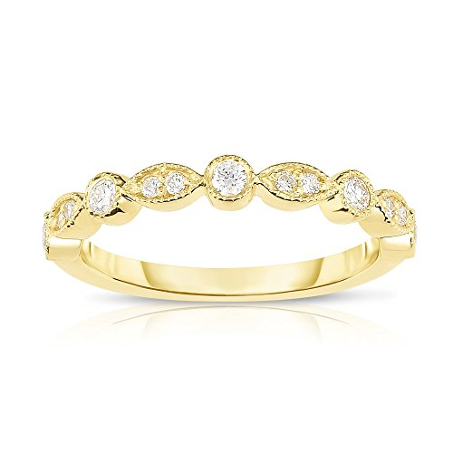 Noray Designs 14K Yellow Gold Diamond (1/4 Ct, G-H Color, SI2-I1 Clarity) Stackable Milligrain Ring by Noray Designs