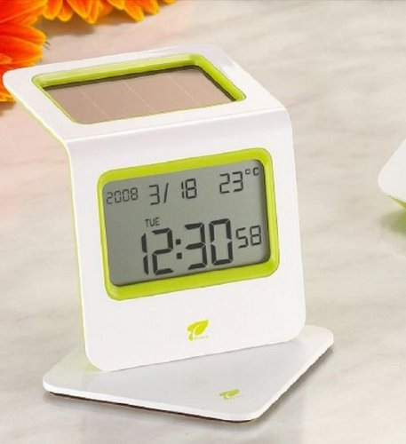 Solar energy, LCD, thermometer, Calendar, Eco-Friendly Alarm Clock