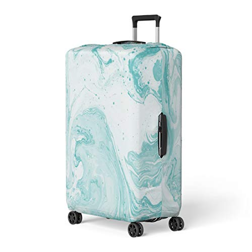 Pinbeam Luggage Cover Marble Turquoise Colour Abstract Painting for Websites Liquid Travel Suitcase Cover Protector Baggage Case Fits 26-28 inches (Best Fantasy Art Sites)