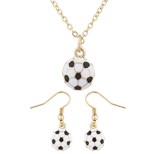 (Lux Accessories Gold Tone Soccer Soccer Ball Sports Soccer Mom Necklace Set 2PC)