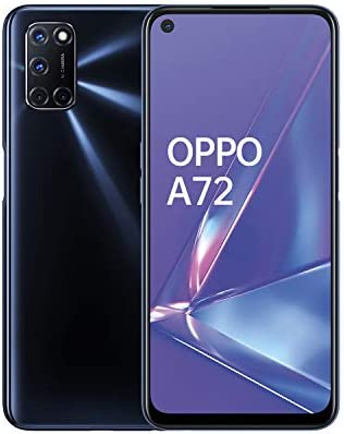 "OPPO A72 Smartphone , Display 6.5"" LCD, 4, Fotocamere,128GB Espandibili, RAM 4GB, Batteria 5000mAh, Dual Sim, 2020 [Versione italiana], Twilight black"