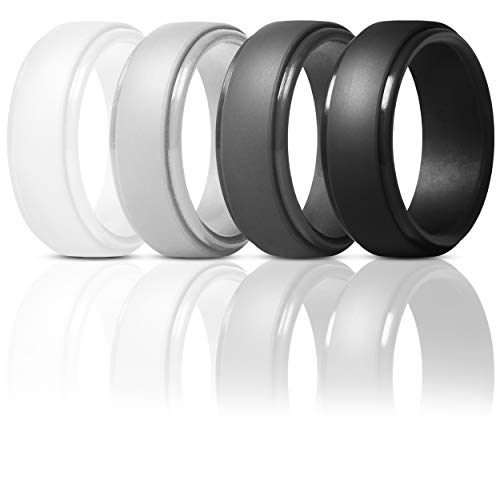 ThunderFit Silicone Rings for Men - 4 Pack Rubber Wedding Bands (White, Light Grey, Black, Dark Grey, 9.5-10 (19.8mm))