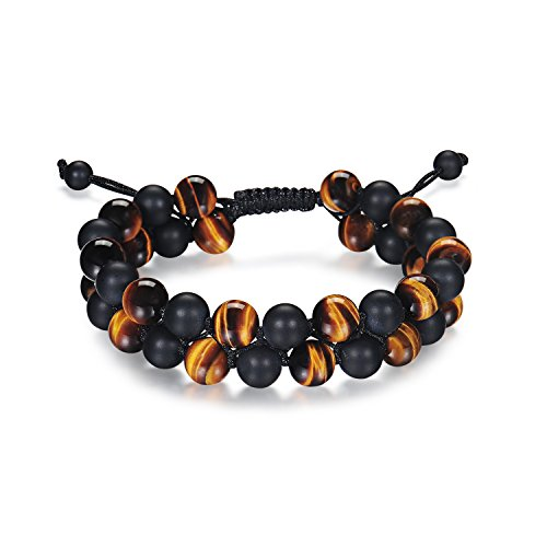 "HASKARE Tiger Eye Bracelet Mens Womens Natural Stones Lava Tiger Eye Beads Bracelet Adjustable 7.5""-11"", Couples (Onyx Tiger Eye (Larger))"