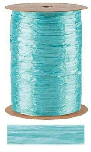 Light Blue Pearlized Raffia Ribbon Gift Wrap Wedding 1/2'' Wide 500 Yards Bow by retail-warehouse