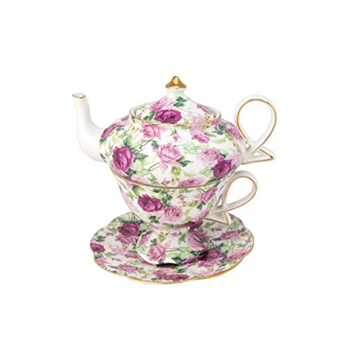 Gracie China by Coastline Imports 4-Piece Porcelain Tea for One, Stacked Teapot Cup Saucer, Pink Summer Rose ()