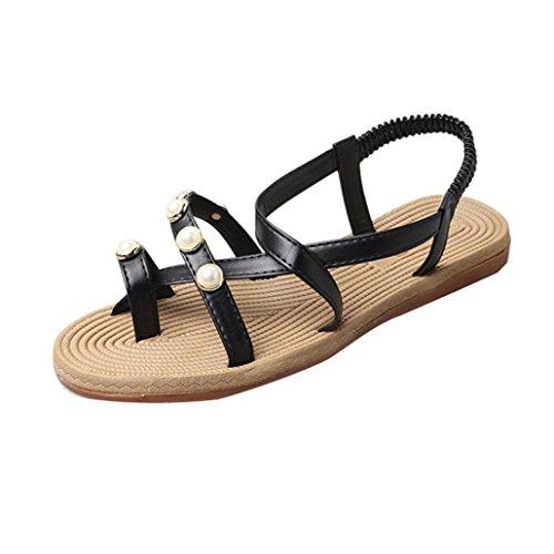Transer® Ladies Elegance Flat Sandals- Women Summer Sandals Comfortable Leisure Shoes Black 4KUSV