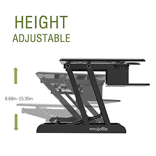 Standing Desk, Stand up Adjustable Desk Riser Converter for Desktop Laptop Dual Monitor by smugdesk (Image #1)