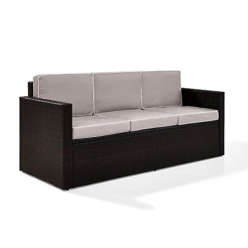 Crosley Furniture KO70048BR-GY Palm Harbor Outdoor Wicker Sofa Grey Cushions, Brown