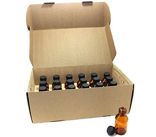 Aromatherapy Perfume (NES NATURAL 1 Oz Amber Glass Round Bottles With Cap 24 Pack | Durable & Refillable Bottles For Essential Oils, Liquids, Aromatherapy, Perfume Oils & More | Protect Oils From Harmful Sun Rays)