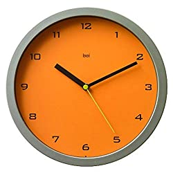 BAI Designer Wall Clock, Gotham Tangerine