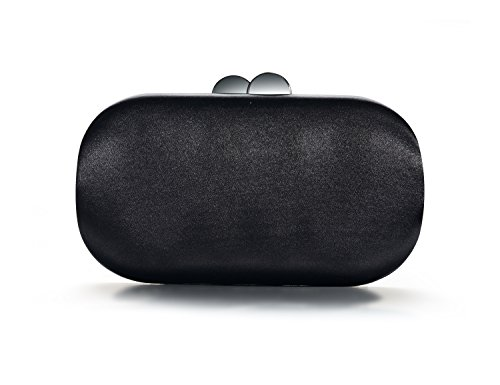 DMIX Womens Satin Silk Hard Case Box Clutch Evening Bags and Clutches Black (Dmix Case)