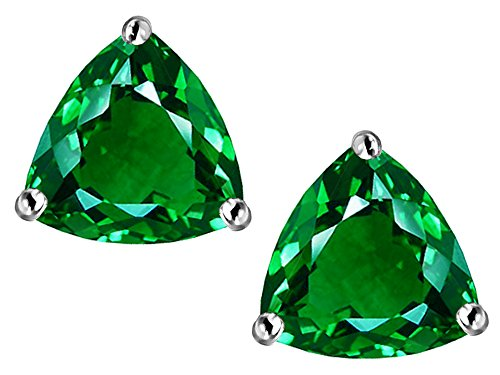 Star K Trillion 7mm Simulated Emerald Earrings Studs Sterling Silver