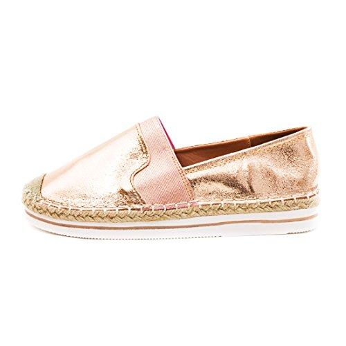 Marimo Damen Espadrilles Low Top Sommer Slipper Sneaker Metallic Lederoptik X-Champagner Metallic