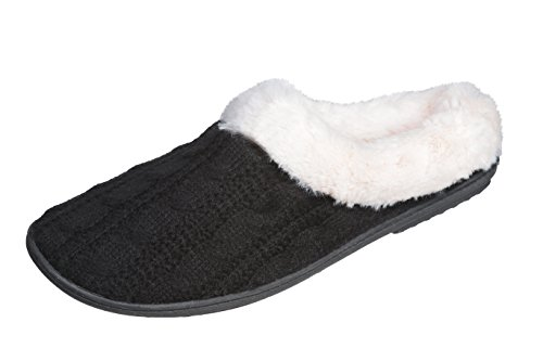 Black Comfort Slippers and Super Roxoni Sweater Clog Knit Women's Cozy Bedroom Cabled Winter wF0wxP7q