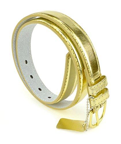 Girls Leather Belt with Polished Belt Buckle - Girls Solid Color PU Leather Belts by Belle Donne - Gold Large ()