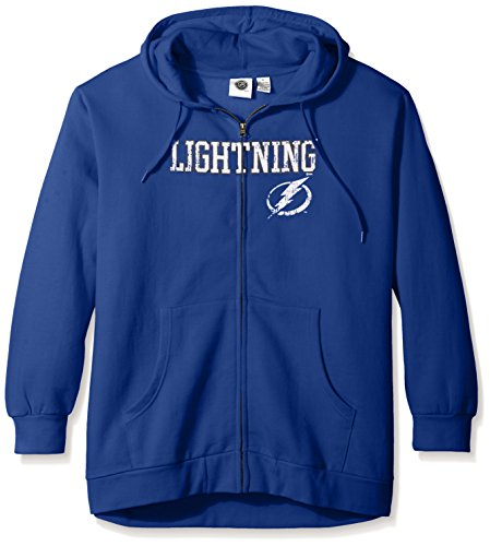[NHL Tampa Bay Lightning Women's Full Zip Hoodie with Distress Word Mark, 1X, Blue] (Lightning Full Zip Hoodie)