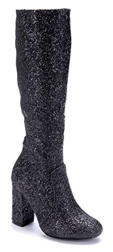 Schuhtempel24 Damen Schuhe Klassische Stiefel Stiefeletten Boots Blockabsatz Glitzer 10 cm High Heels Schwarz