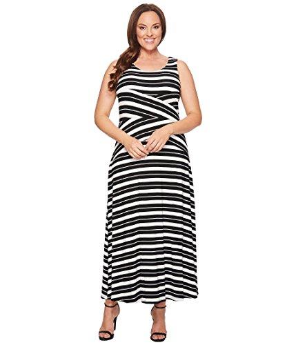 見落とすラベ高揚した[カルバンクライン] Calvin Klein Plus レディース Plus Size Striped Crisscross Maxi Dress ドレス [並行輸入品]