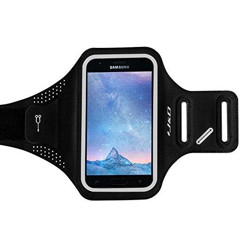 J&D Armband Compatible for Galaxy J3 2018 Armband, J3 V 3rd Gen/J3 Achieve/J3 Star/Amp Prime 3 Slim Armband, Sports Armband w/Key Holder Slot, Earphone Connection for Samsung Galaxy J3 2018 Armband