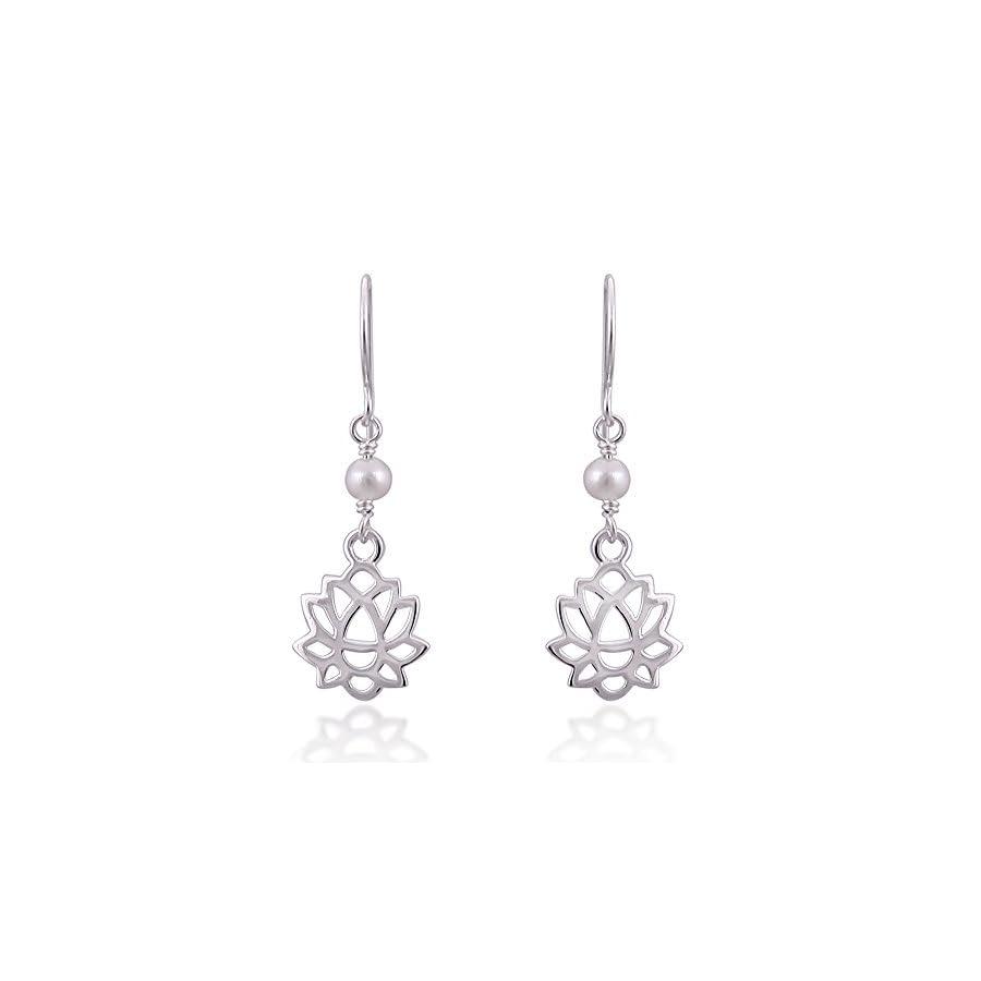 925 Sterling Silver Lotus Flower with Synthetic White Pearl Danle Hook Earrings