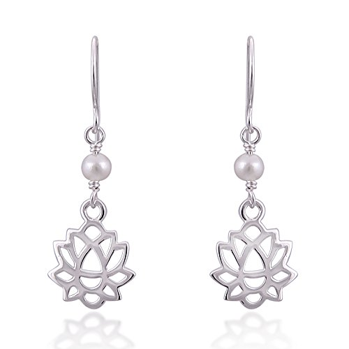 925 Sterling Silver Lotus Flower with Synthetic White Pearl Danle Hook Earrings