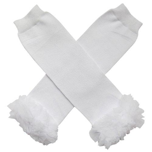 Chiffon Ruffle Tutu Christmas Holiday Winter Styles Leg Warmers - One Size - Baby, Toddler, Girl (Chiffon Solid White)
