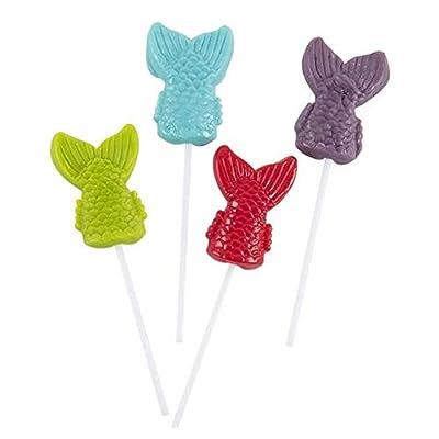 Rhode Island Novelty 2 Inch Mermaid Tail Lollipop with 4 Inch Stick One Dozen: Toys & Games