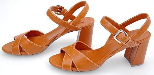 Code Mujer Para Arancione 3xp003 De 35 Sandalia Cuero Tacón Prada Naranja Papaya 8qR7xHpp