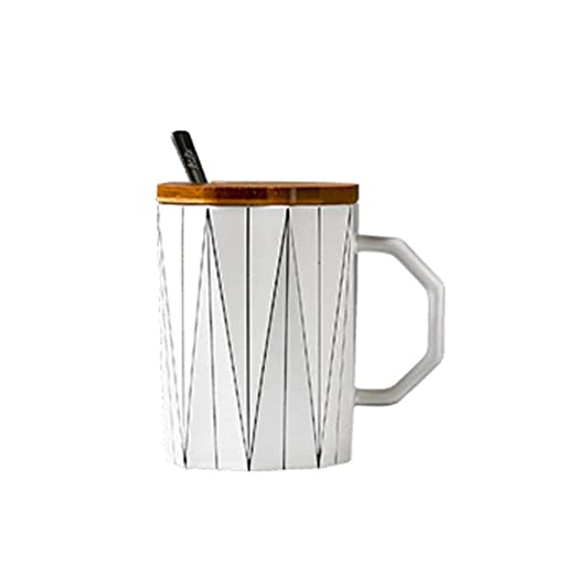 DYTJ-Mugs Creativa Taza Geométrica Mate Con Tapa De Bambú ...