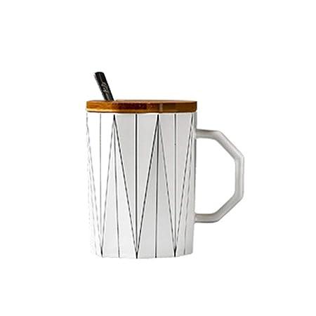 DYTJ-Mugs Creativa Taza Geométrica Mate Con Tapa De Bambú Cuchara ...