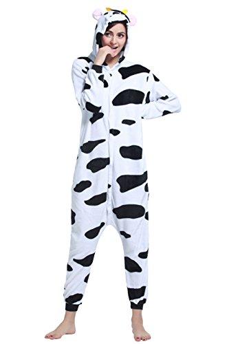 Cow Onesie Costume Party City (Women's Animal Cosplay Costume Unisex Adult Pajamas Onesie(Cow, XL))