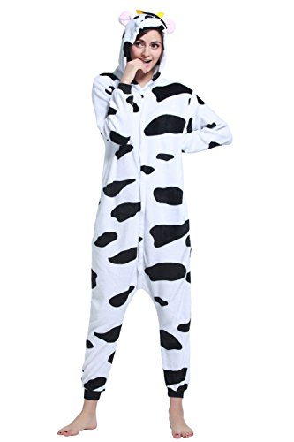 Unisex Adult Animal Cosplay Onesie Flannel One Piece Pajamas Sleepwear(Cow, L)